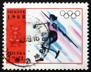 14335300 - poland - circa 1968: a stamp printed in the poland shows womenís javelin, summer olympic sports, mexico 68, circa 1968