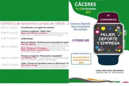 Nos vemos en Cáceres en el IV Congreso Mujer, Deporte y Empresa