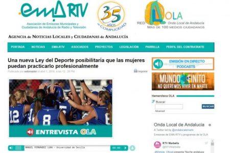 Onda Local Andalucía. Una nueva Ley del Deporte posibilitaría que las mujeres puedan ser profesionales
