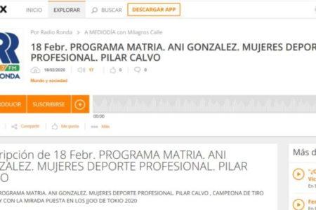 RADIO MATRIA. ANI GONZALEZ. MUJERES DEPORTE PROFESIONAL. PILAR CALVO