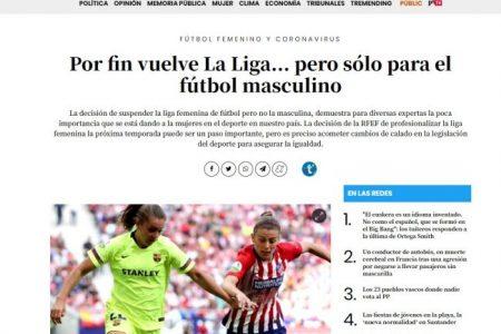 Público. Por fin vuelve La Liga… pero sólo para el fútbol masculino. Arantxa Uría